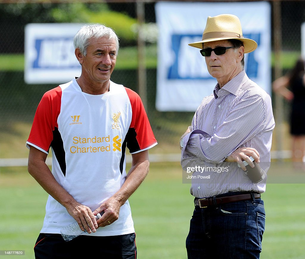 John W Henry (R) principal owner of Liverpool talks with former player <a gi-track='captionPersonalityLinkClicked' href=/galleries/search?phrase=Ian+Rush&family=editorial&specificpeople=2107557 ng-click='$event.stopPropagation()'>Ian Rush</a> during a training session at Harvard University on July 19, 2012 in Boston, Massachusetts.