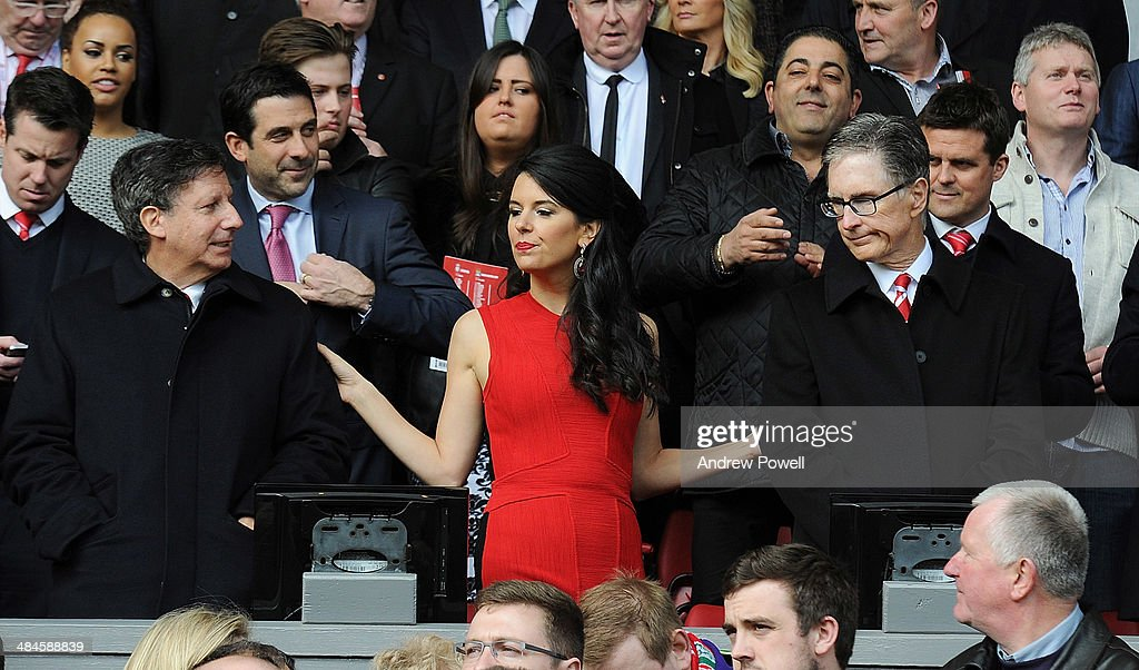 John W Henry principle owner of Liverpool, his wife Linda Pizzuti and chairman <a gi-track='captionPersonalityLinkClicked' href=/galleries/search?phrase=Tom+Werner&family=editorial&specificpeople=734814 ng-click='$event.stopPropagation()'>Tom Werner</a> attend the Barclays Premier Leuage match between Liverpool and Manchester City at Anfield on April 13, 2014 in Liverpool, England.