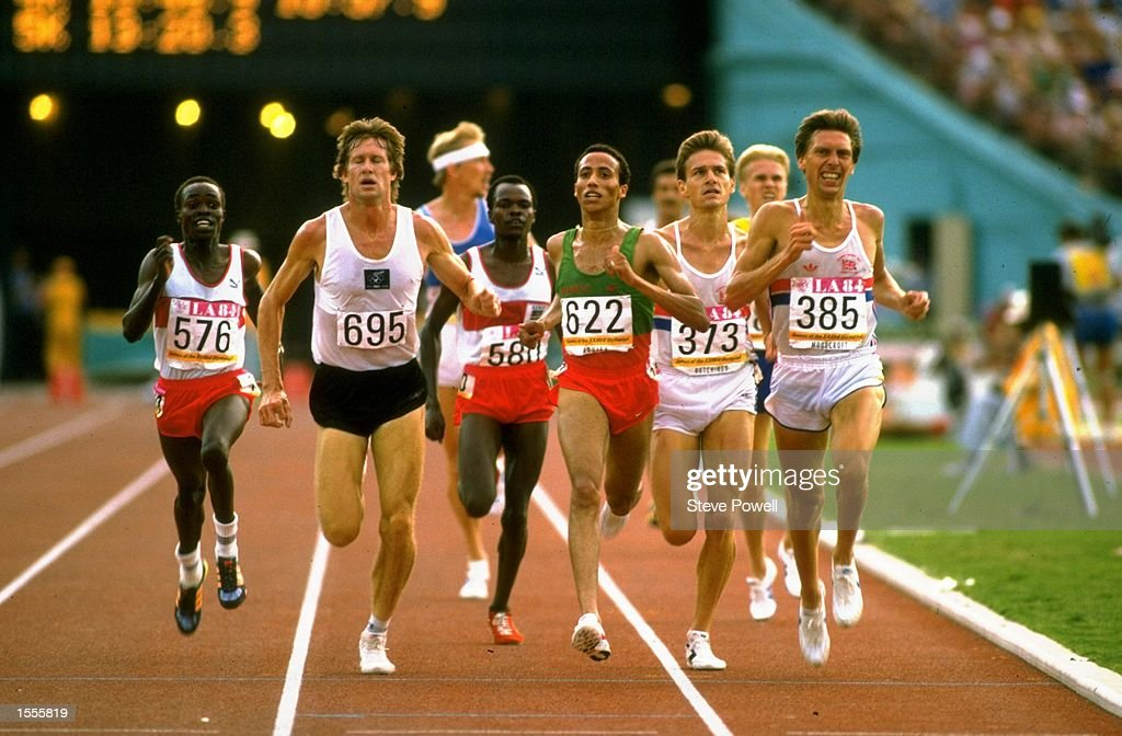 John Walker of New Zealand Said Aouita of Morocco Tim Hutchings and David Moorcroft of Great Britain in action during a 5000 metres Heat of the 1984...