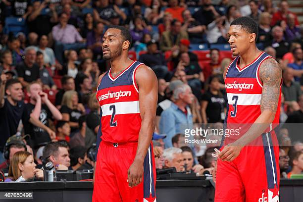 John Wall and Bradley Beal of the Washington Wizards face off against the Sacramento Kings on March 22 2015 at Sleep Train Arena in Sacramento...
