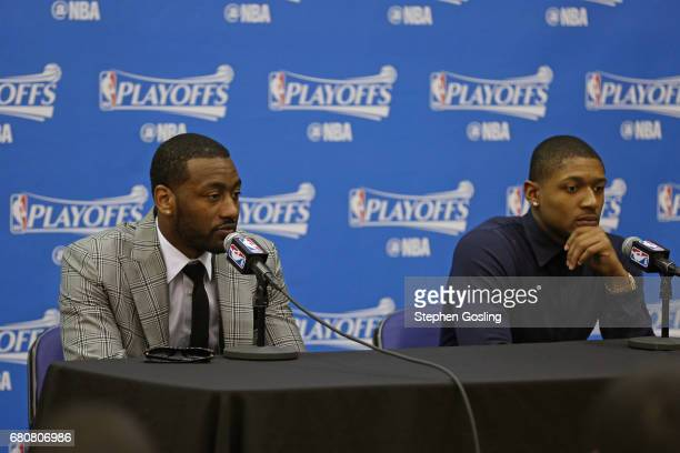 John Wall and Bradley Beal of the Washington Wizards talks to the media during a press conference after Game Four of the Eastern Conference...