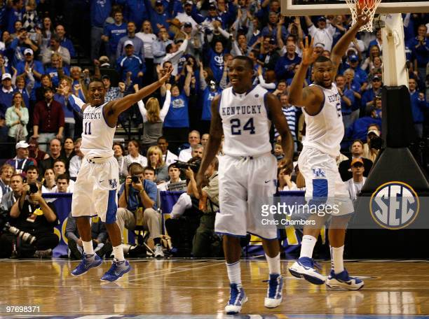 John Wall Eric Bledsoe and DeMarcus Cousins of the Kentucky Wildcats celebrate after John Wall made a 3point basket with less then 30 seconds to go...