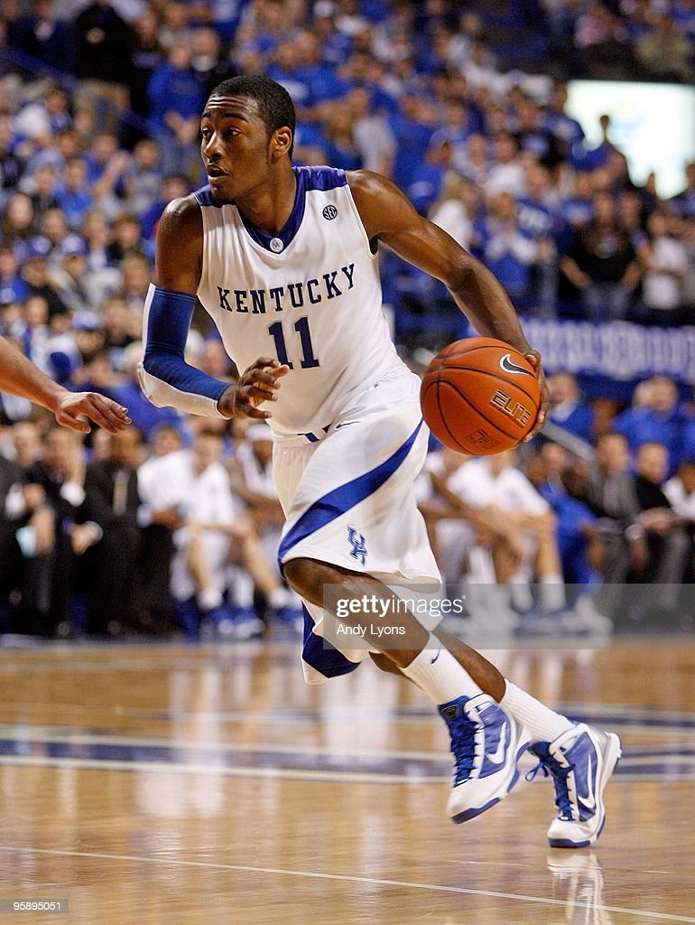 <a gi-track='captionPersonalityLinkClicked' href=/galleries/search?phrase=John+Wall&family=editorial&specificpeople=2265812 ng-click='$event.stopPropagation()'>John Wall</a> #11 of the Kentucky Wildcats dribbles the ball during the game against the Hartford Hawks at Rupp Arena on December 29, 2009 in Lexington, Kentucky. Kentucky won 104-61.