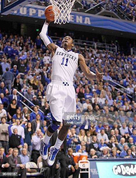 John Wall of the Kentucky Wildcats dunks the ball during the SEC game against the Ole Miss Rebels on February 2 2010 at Rupp Arena in Lexington...