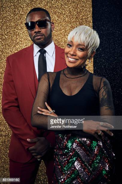 John Wall of the Washington Wizards and Monica pose for a portrait at the NBA Awards Show on June 26 2017 at Basketball City at Pier 36 in New York...