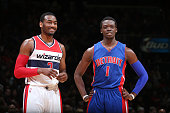 John Wall of the Washington Wizards and Reggie Jackson of the Detroit Pistons during the game on February 28 2015 at Verizon Center in Washington DC...