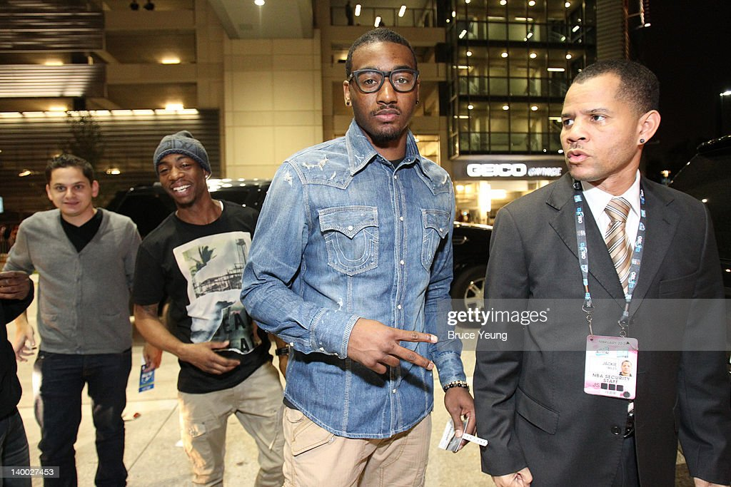 <a gi-track='captionPersonalityLinkClicked' href=/galleries/search?phrase=John+Wall&family=editorial&specificpeople=2265812 ng-click='$event.stopPropagation()'>John Wall</a> #2 of the Washington Wizards arrives on the red carpet prior to the 2012 NBA All-Star Game presented by Kia Motors as part of 2012 All-Star Weekend at the Amway Center on February 26, 2012 in Orlando, Florida.
