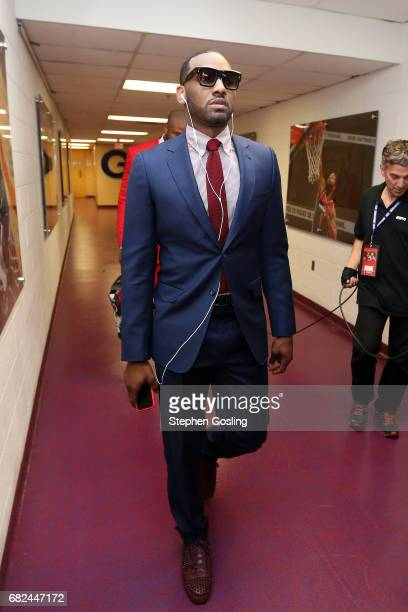 John Wall of the Washington Wizards arrives to the arena before the game against the Boston Celtics during Game Six of the Eastern Conference...