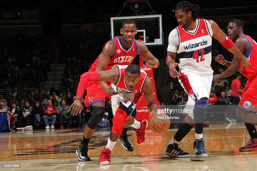 <a gi-track='captionPersonalityLinkClicked' href=/galleries/search?phrase=John+Wall&family=editorial&specificpeople=2265812 ng-click='$event.stopPropagation()'>John Wall</a> #2 of the Washington Wizards brings the ball up court against the Philadelphia 76ers at the Verizon Center on March 3, 2013 in Washington, DC.
