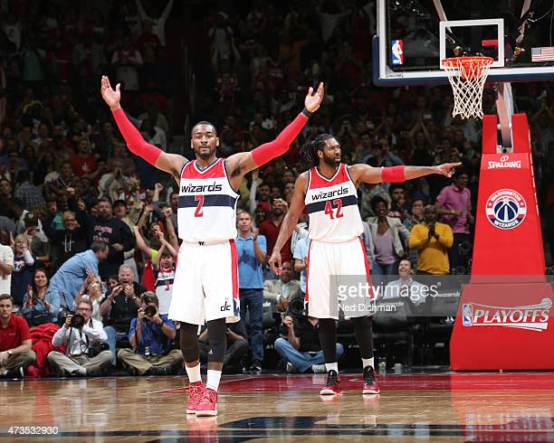 John Wall of the Washington Wizards celebrates after a play against the Atlanta Hawks in Game Six of the Eastern Conference Semifinals of the 2015...
