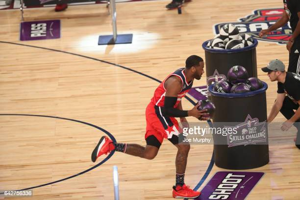 John Wall of the Washington Wizards competes in the Taco Bell Skills Challenge during State Farm AllStar Saturday Night as part of the 2017 NBA...