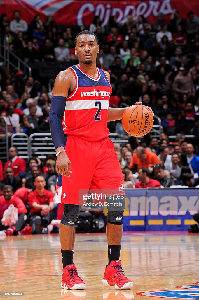 John Wall #2 of the Washington Wizards controls the ball against the Los Angeles Clippers at Staples Center on January 19, 2013 in Los Angeles, California.