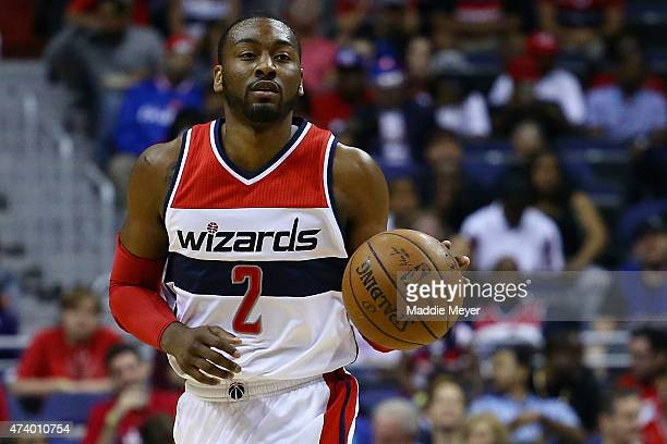 John Wall of the Washington Wizards drives against the Atlanta Hawks during the first quarter at Verizon Center on May 15 2015 in Washington DC
