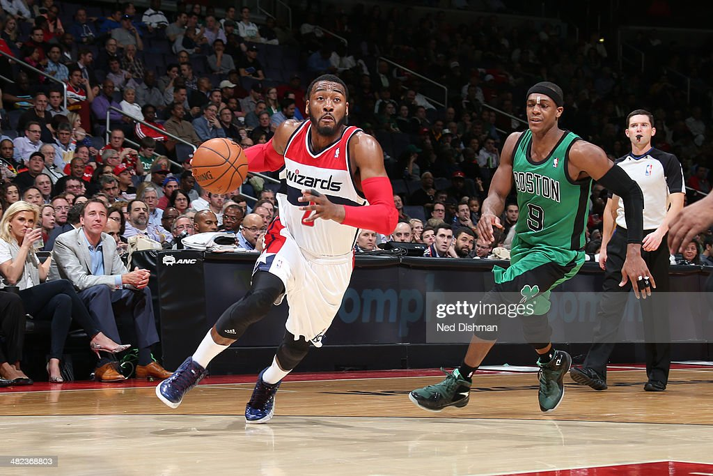 <a gi-track='captionPersonalityLinkClicked' href=/galleries/search?phrase=John+Wall&family=editorial&specificpeople=2265812 ng-click='$event.stopPropagation()'>John Wall</a> #2 of the Washington Wizards drives against the Boston Celtics at the Verizon Center on April 2, 2014 in Washington, DC.