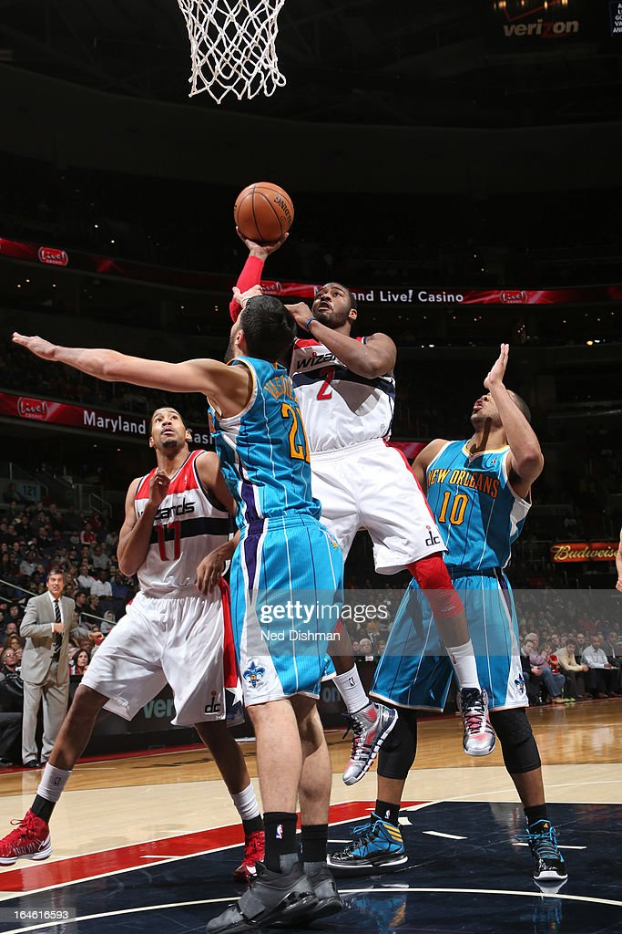 <a gi-track='captionPersonalityLinkClicked' href=/galleries/search?phrase=John+Wall&family=editorial&specificpeople=2265812 ng-click='$event.stopPropagation()'>John Wall</a> #2 of the Washington Wizards drives to the basket against the New Orleans Hornets at the Verizon Center on March 15, 2013 in Washington, DC.
