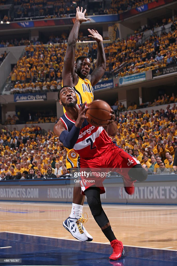 <a gi-track='captionPersonalityLinkClicked' href=/galleries/search?phrase=John+Wall&family=editorial&specificpeople=2265812 ng-click='$event.stopPropagation()'>John Wall</a> #2 of the Washington Wizards drives to the basket during Game One of the Eastern Conference Semifinals against the Indiana Pacers on May 5, 2014 at Bankers Life Fieldhouse in Indianapolis, Indiana.