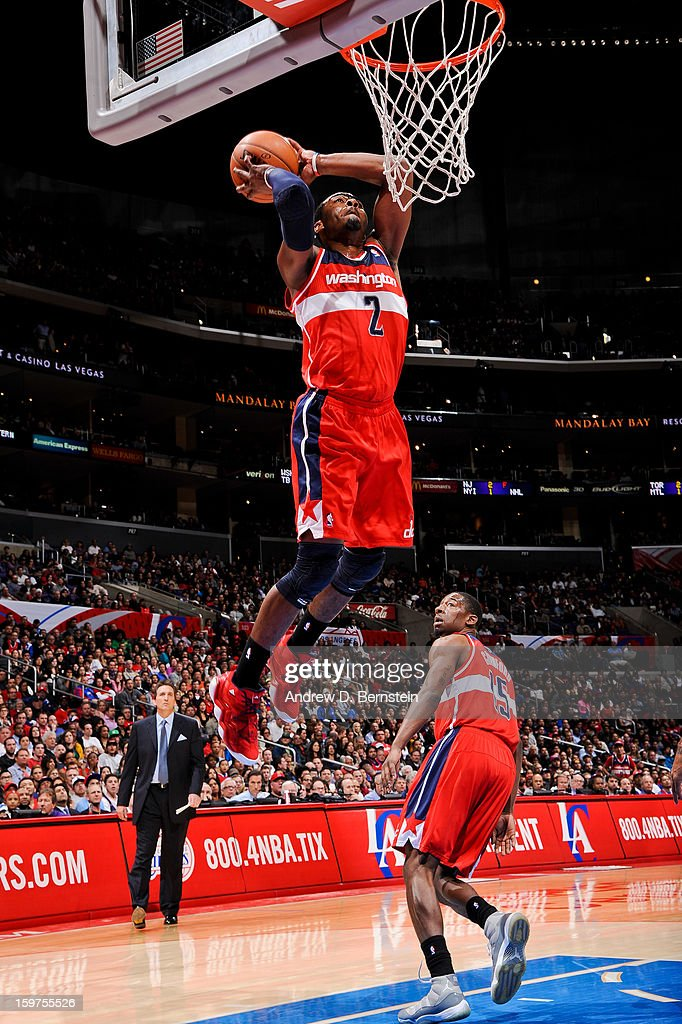 John Wall #2 of the Washington Wizards dunks against the Los Angeles Clippers at Staples Center on January 19, 2013 in Los Angeles, California.