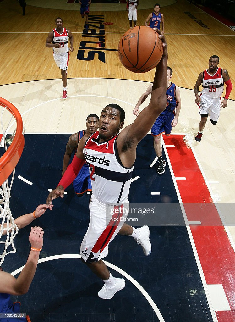 <a gi-track='captionPersonalityLinkClicked' href=/galleries/search?phrase=John+Wall&family=editorial&specificpeople=2265812 ng-click='$event.stopPropagation()'>John Wall</a> #2 of the Washington Wizards dunks against the New York Knicks during the game at the Verizon Center on February 8, 2012 in Washington, DC.