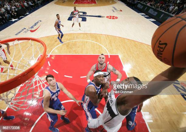 John Wall of the Washington Wizards dunks the ball against the Philadelphia 76ers on October 18 2017 at Capital One Arena in Washington DC NOTE TO...