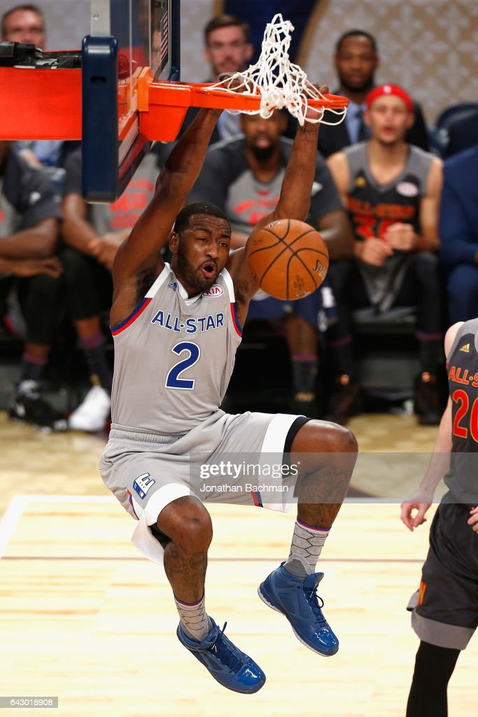 John Wall #2 of the Washington Wizards dunks the ball during the 2017 NBA All-Star Game at Smoothie King Center on February 19, 2017 in New Orleans, Louisiana.