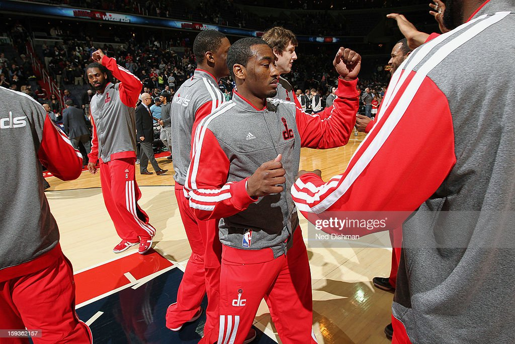 John Wall #2 of the Washington Wizards during pre-game introductions against the Atlanta Hawks during the game at the Verizon Center on January 12, 2013 in Washington, DC.
