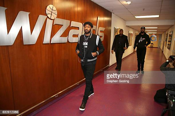 John Wall of the Washington Wizards enters the arena before the game against the Boston Celtics on January 24 2017 at Verizon Center in Washington DC...