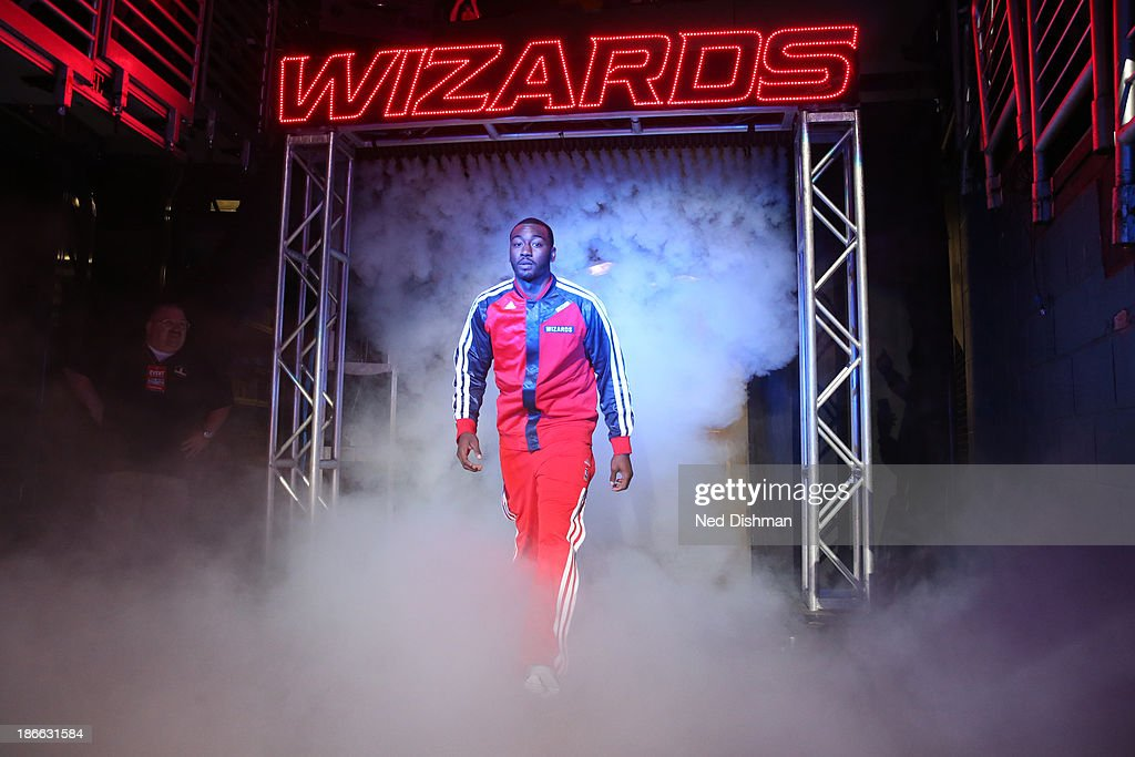 <a gi-track='captionPersonalityLinkClicked' href=/galleries/search?phrase=John+Wall&family=editorial&specificpeople=2265812 ng-click='$event.stopPropagation()'>John Wall</a> #2 of the Washington Wizards enters the court pre-game against the Philadelphia 76ers during the pre-season game at the Verizon Center on November 1, 2013 in Washington, DC.