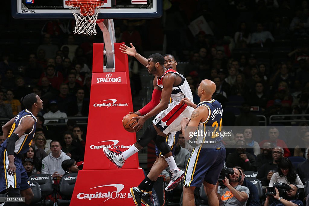 <a gi-track='captionPersonalityLinkClicked' href=/galleries/search?phrase=John+Wall&family=editorial&specificpeople=2265812 ng-click='$event.stopPropagation()'>John Wall</a> #2 of the Washington Wizards goes to the basket against the Utah Jazz at the Verizon Center on March 5, 2014 in Washington, DC.