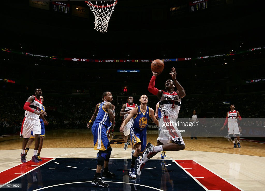 <a gi-track='captionPersonalityLinkClicked' href=/galleries/search?phrase=John+Wall&family=editorial&specificpeople=2265812 ng-click='$event.stopPropagation()'>John Wall</a> #2 of the Washington Wizards goes to the basket during the game between the Washington Wizards and the Golden State Warriors at the Verizon Center on March 5, 2012 in Washington, DC.
