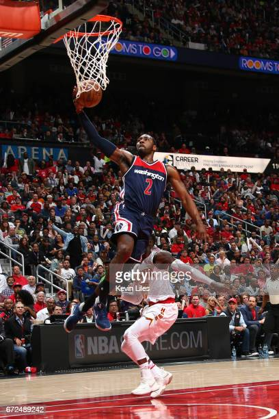 John Wall of the Washington Wizards goes up for a lay up against the Atlanta Hawks during Game Four of the Eastern Conference Quarterfinals of the...