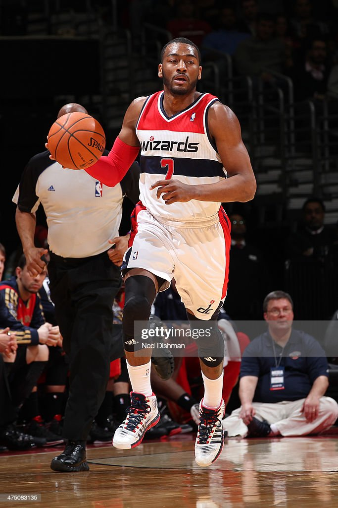 <a gi-track='captionPersonalityLinkClicked' href=/galleries/search?phrase=John+Wall&family=editorial&specificpeople=2265812 ng-click='$event.stopPropagation()'>John Wall</a> #2 of the Washington Wizards handles the ball against the New Orleans Pelicans at the Verizon Center on February 22, 2014 in Washington, DC.
