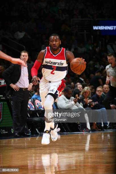 John Wall of the Washington Wizards handles the ball against the Chicago Bulls on March 17 2017 at Verizon Center in Washington DC NOTE TO USER User...