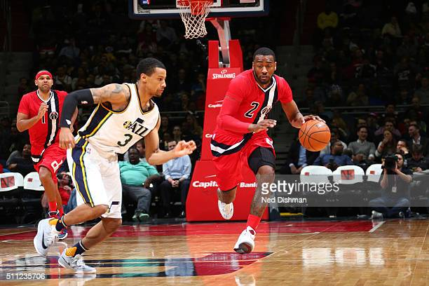John Wall of the Washington Wizards handles the ball against the Utah Jazz on February 18 2016 at Verizon Center in Washington DC NOTE TO USER User...