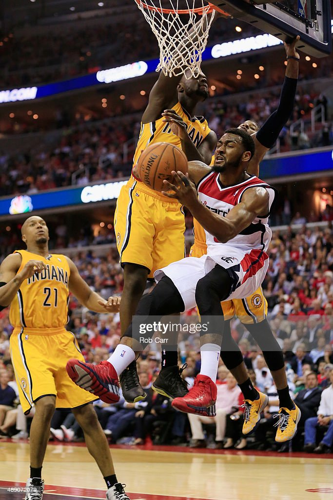 John Wall #2 of the Washington Wizards is fouled by Lance Stephenson #1 of the Indiana Pacers during the second half of Game 3 of the Eastern Conference Semifinals during the 2014 NBA Playoffs at Verizon Center on May 9, 2014 in Washington, DC. The Pacers won 85-63.