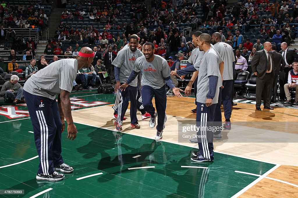 John Wall #2 of the Washington Wizards is introduced before the game against the Milwaukee Bucks on March 8, 2014 at the BMO Harris Bradley Center in Milwaukee, Wisconsin.