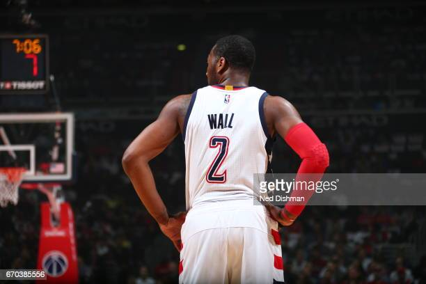 John Wall of the Washington Wizards is seen against the Atlanta Hawks during the Eastern Conference Quarterfinals of the 2017 NBA Playoffs April 19...