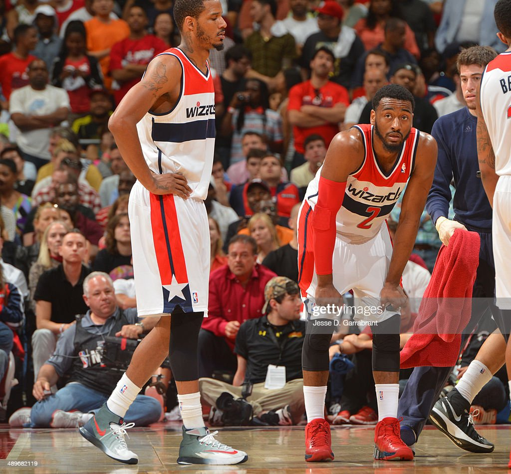 <a gi-track='captionPersonalityLinkClicked' href=/galleries/search?phrase=John+Wall&family=editorial&specificpeople=2265812 ng-click='$event.stopPropagation()'>John Wall</a> #2 of the Washington Wizards looks on against the Indiana Pacers during Game Four of the Western Conference Semifinals on May 11, 2014 at the Verizon Center, in Washington DC.