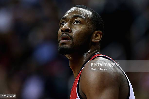John Wall of the Washington Wizards looks on during the second quarter against the Atlanta Hawks at Verizon Center on May 15 2015 in Washington DC