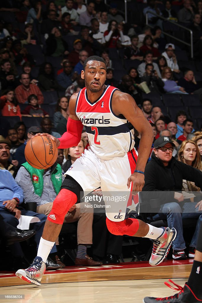 <a gi-track='captionPersonalityLinkClicked' href=/galleries/search?phrase=John+Wall&family=editorial&specificpeople=2265812 ng-click='$event.stopPropagation()'>John Wall</a> #2 of the Washington Wizards looks to drive to the basket against the Toronto Raptors at the Verizon Center on March 31, 2013 in Washington, DC.