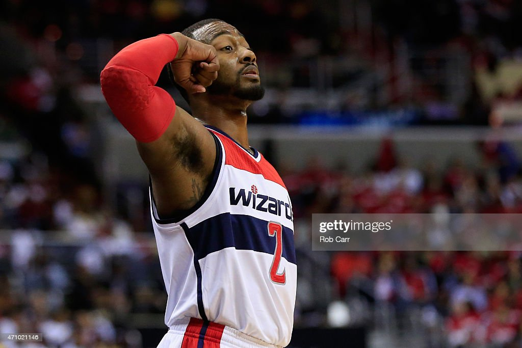 <a gi-track='captionPersonalityLinkClicked' href=/galleries/search?phrase=John+Wall&family=editorial&specificpeople=2265812 ng-click='$event.stopPropagation()'>John Wall</a> #2 of the Washington Wizards motions from the floor in the second half of the Wizards 106-99 win over the Toronto Raptors during Game Three of the Eastern Conference Quarterfinals of the NBA playoffs at Verizon Center on April 24, 2015 in Washington, DC.