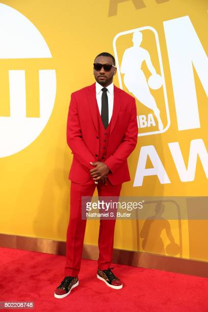 John Wall of the Washington Wizards on the red carpet at the NBA Awards Show on June 26 2017 at Basketball City at Pier 36 in New York City New York...