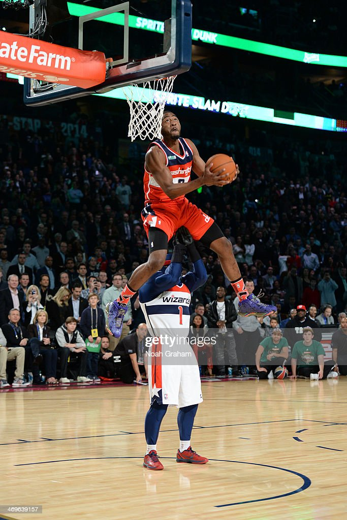 <a gi-track='captionPersonalityLinkClicked' href=/galleries/search?phrase=John+Wall&family=editorial&specificpeople=2265812 ng-click='$event.stopPropagation()'>John Wall</a> #2 of the Washington Wizards participates in the Sprite Slam Dunk Contest on State Farm All-Star Saturday Night as part of the 2014 All-Star Weekend at Smoothie King Center on February 15, 2014 in New Orleans, Louisiana.