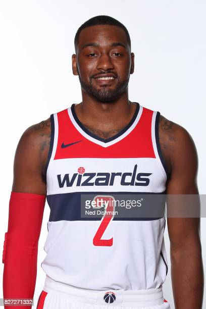 John Wall of the Washington Wizards poses for a head shot after announcing a new contract at the Verizon Center in Washington DC on August 4 2017 in...