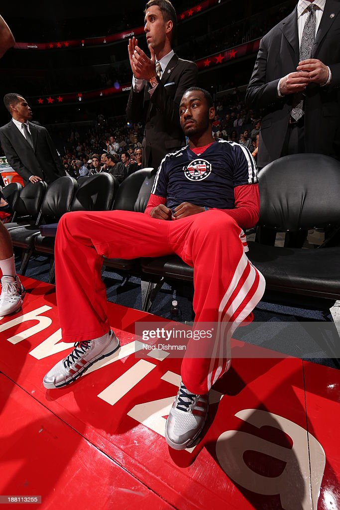 <a gi-track='captionPersonalityLinkClicked' href=/galleries/search?phrase=John+Wall&family=editorial&specificpeople=2265812 ng-click='$event.stopPropagation()'>John Wall</a> #2 of the Washington Wizards prepares for the game against the Brooklyn Nets at the Verizon Center on November 8, 2013 in Washington, DC.