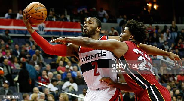 John Wall of the Washington Wizards puts up a shot in front of Justise Winslow of the Miami Heat in the second half of the Wizards 10687 win at...
