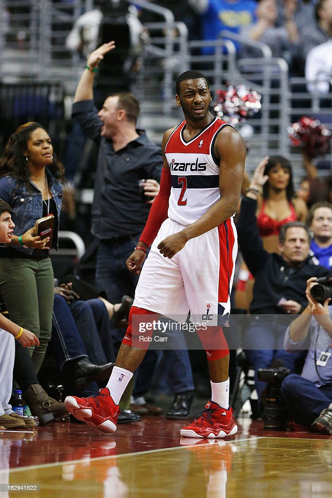 John Wall #2 of the Washington Wizards reacts after being called for a technical foul during the second half of the Wizards 96-88 loss to the New York Knicks at Verizon Center on March 1, 2013 in Washington, DC.