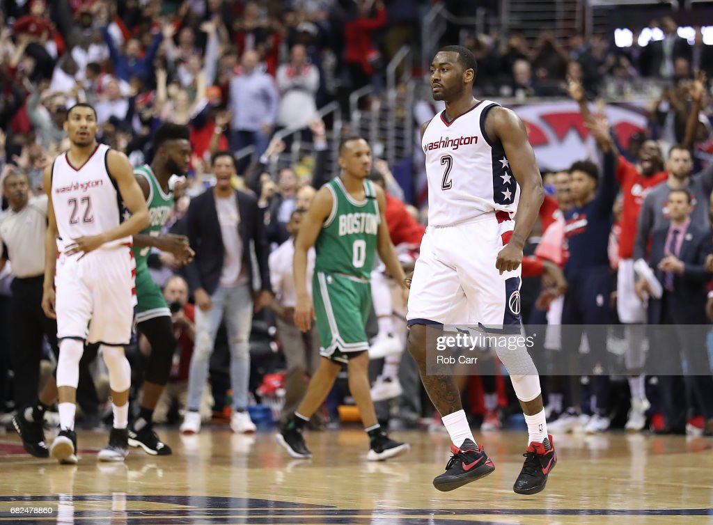 John Wall #2 of the Washington Wizards reacts after hitting the game-winning three-point basket against Avery Bradley #0 of the Boston Celtics during Game Six of the NBA Eastern Conference Semi-Finals at Verizon Center on May 12, 2017 in Washington, DC.