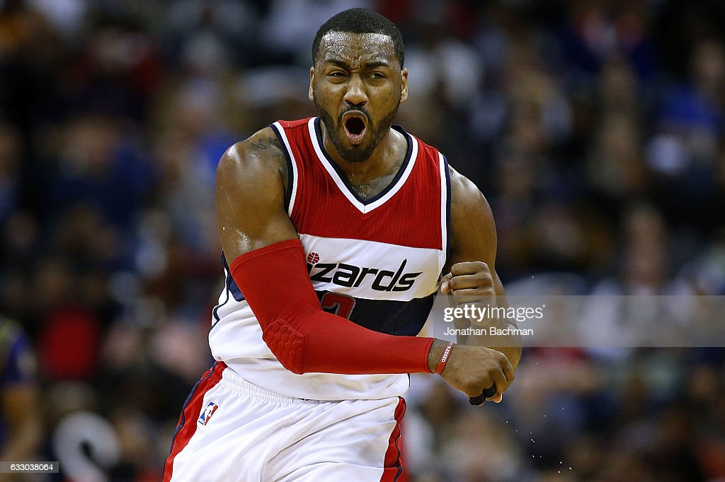 John Wall #2 of the Washington Wizards reacts after scoring during the first half of a game against the New Orleans Pelicans at the Smoothie King Center on January 29, 2017 in New Orleans, Louisiana.