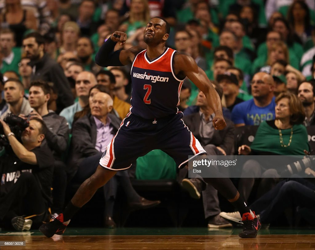John Wall #2 of the Washington Wizards reacts against the Boston Celtics during Game Seven of the NBA Eastern Conference Semi-Finals at TD Garden on May 15, 2017 in Boston, Massachusetts.
