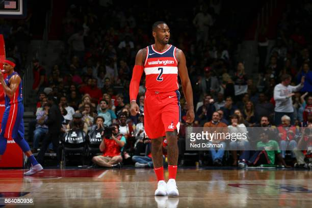 John Wall of the Washington Wizards reacts during game against the Detroit Pistons on October 20 2017 at Capital One Arena in Washington DC NOTE TO...